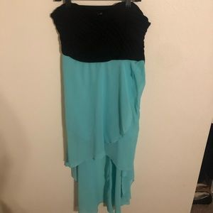 Black and teal women's strapless dress